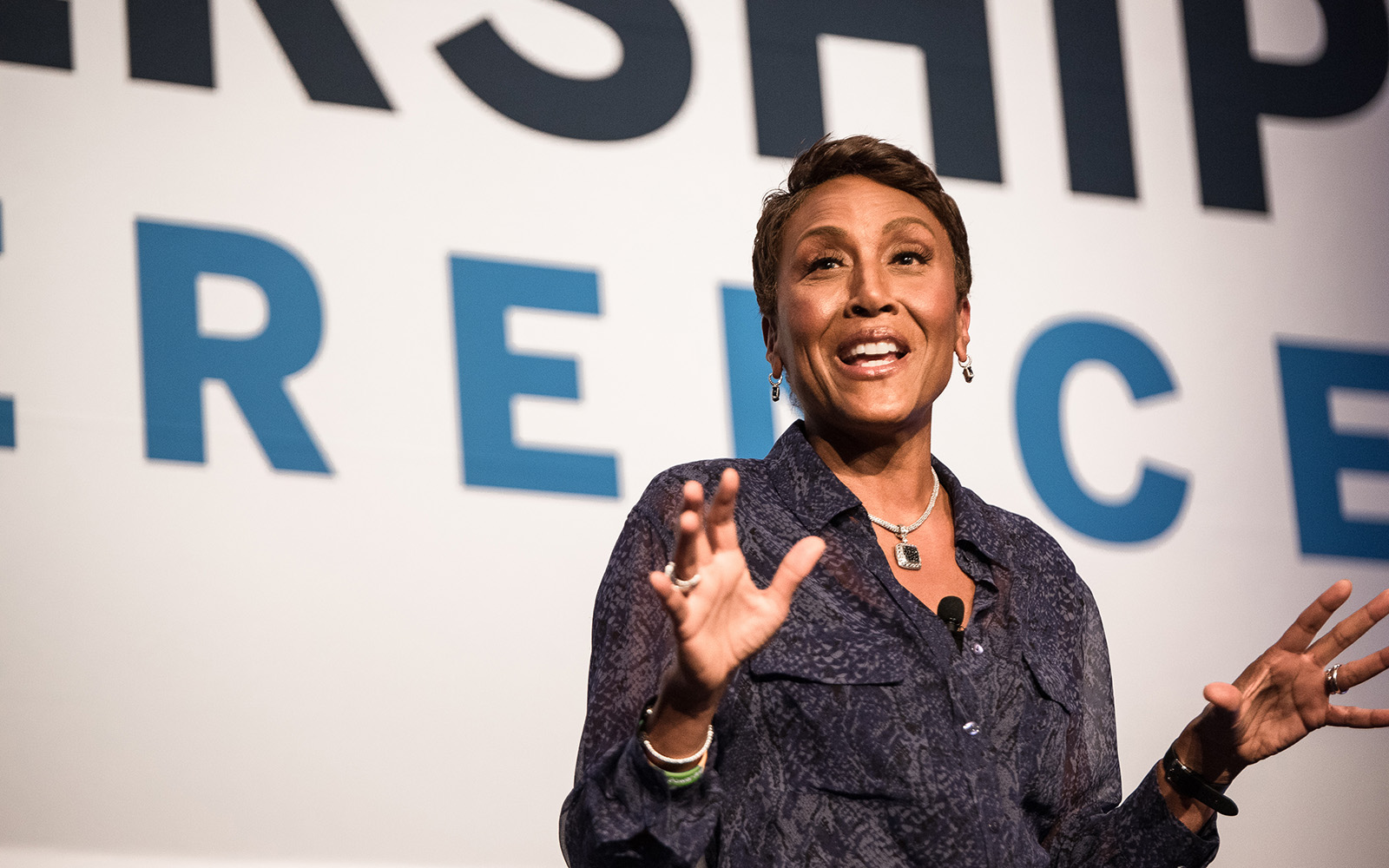 "Robin Roberts, Co-Anchor, ABC ""Good Morning America,"" delivers the keynote presentation. (Nathan Oldham/UConn School of Business)"